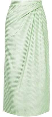 Carolina Herrera Gathered Silk-satin Jacquard Midi Pencil Skirt