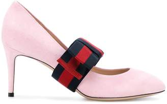Gucci removable Web bow pumps