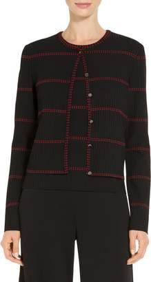 St. John Textured Stripe Faux Rib Knit Jacket