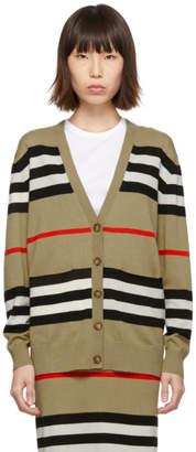 Burberry Beige Merino Icon Stripe Scioto Cardigan