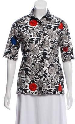 Sophie Theallet Printed Button-Up Top Black Printed Button-Up Top