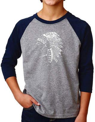 LOS ANGELES POP ART Los Angeles Pop Art Boy's Raglan Baseball Word Art T-shirt - POPULAR NATIVE AMERICAN INDIAN TRIBES