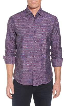 Stone Rose Regular Fit Stripe Paisley Sport Shirt