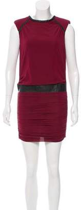 IRO Leather-Trimmed Silk Dress