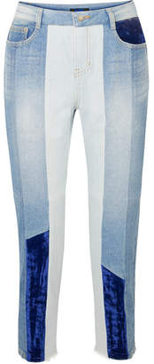 Sjyp Cropped Velvet-paneled High-rise Slim-leg Jeans - Mid denim