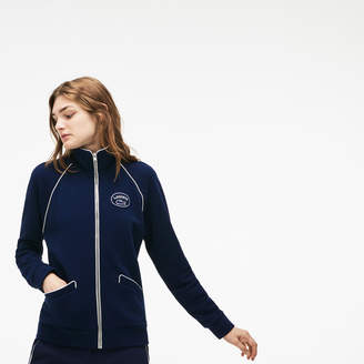 Lacoste Women's Piped Zippered Cotton Crepe Fleece Jacket