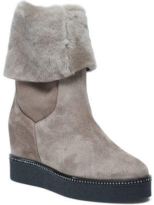 Made In Italy Shearling Suede Boots