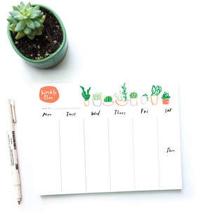 Succulents Weekly Plan Notepad
