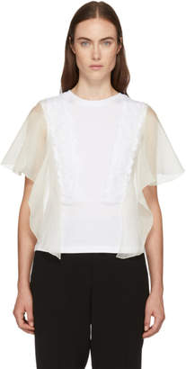 See by Chloe White Lace and Ruffle T-Shirt