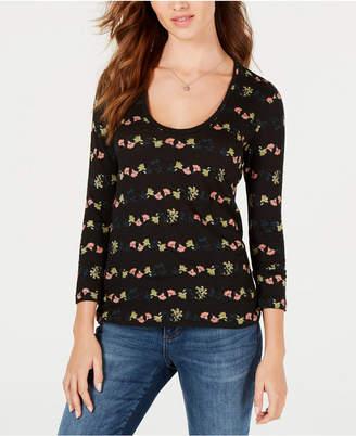Lucky Brand Flower-Stripe T-Shirt