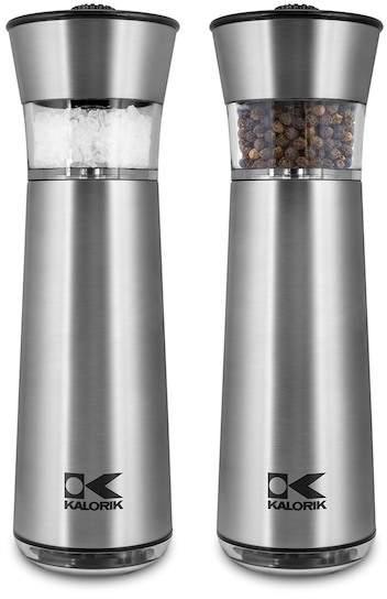 Kalorik Easy Grind Electric Stainless Steel Salt & Pepper Grinders