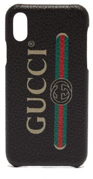 Gucci Vintage Logo Leather Iphone X Case - Mens - Black