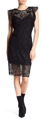 Hale Bob Flutter Sleeve Lace Dress