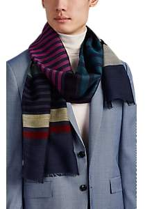 Paul Smith Men's Sock Striped Wool-Blend Voile Scarf - Navy