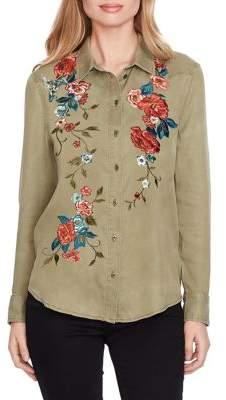 Jessica Simpson Floral Cotton Button-Down Shirt