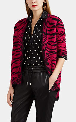 Saint Laurent Women's Tiger-Pattern Oversized Cardigan - Pink
