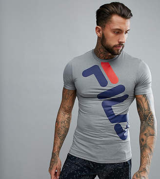 Fila Black Line Compression T-Shirt With Large Logo In Gray