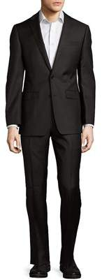 Calvin Klein Name To Extreme Slim-fit Solid Wool Suit