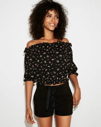Express Petite Floral Textured Off The Shoulder Cropped Top