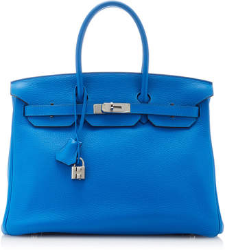 Hermes Vintage by Heritage Auctions 35cm Blue Zanzibar Clemence Leather Birkin Bag