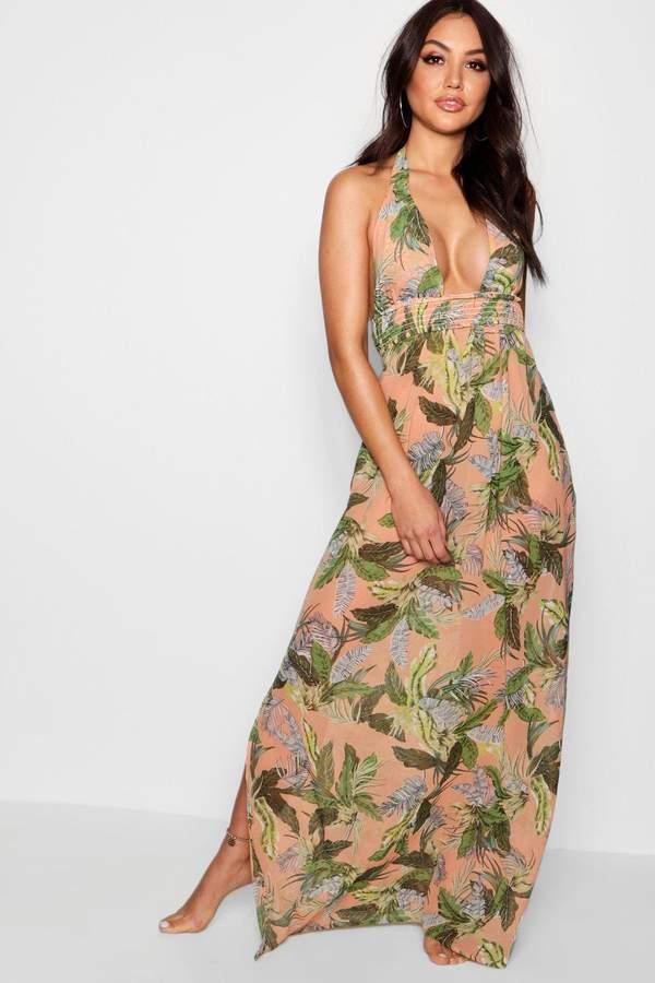 Anna Leaf Print Maxi Beach Dress