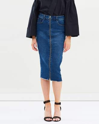 Zip-Through Denim Pencil Skirt