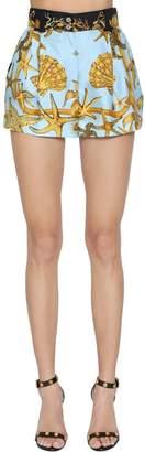 Versace Tresor De La Mer Print Silk Twill Shorts