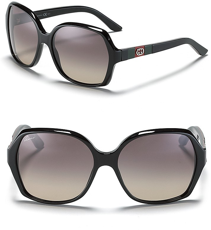 Gucci Black Rounded Oversized Sunglasses