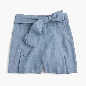 J.Crew Tie-waist short in chambray