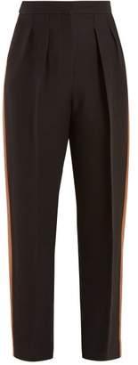Roksanda Ragosta Satin Trim Crepe Trousers - Womens - Black Multi