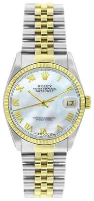 Rolex Datejust 16233 Stainless Steel & Gold MOP Roman Dial 18K Gold Fluted Bezel Mens Watch