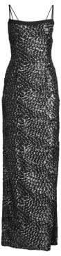Aidan Mattox Crepe& Sequin Double Strap Gown