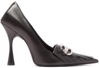 Balenciaga Knife Bb Logo Fringed Leather Pumps - Womens - Black Silver