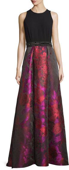 Carmen Marc ValvoCarmen Marc Valvo Sleeveless Crepe & Floral Taffeta Ball Gown, Fuchsia