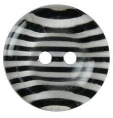 Hemline Two Hole Fancy Black Striped Buttons 25Mm 2Pk