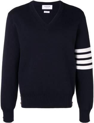 Thom Browne 4-Bar Milano Stitch V-Neck Pullover