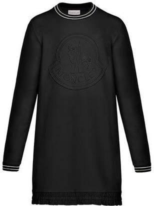 Moncler Striped-Trim Long-Sleeve Dress w/ Tonal Logo Embroidery, Size 4-6