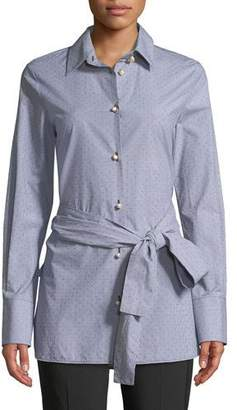 Piazza Sempione Long-Sleeve Tie-Waist Cotton Dobby Shirt with Faux-Pearl Buttons