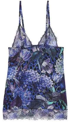Just Cavalli Floral-Print Lace And Silk-Blend Chemise