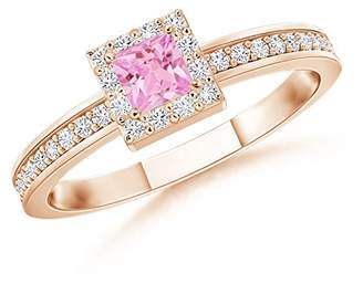 Angara.com Square Pink Sapphire Stackable Ring with Diamond Halo in 14K Rose Gold (3mm Pink Sapphire)