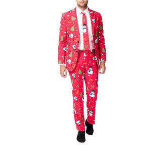 Asstd National Brand Holiday Red Snowmen OppoSuits 3-pc. Suit- Slim Fit