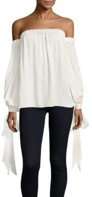 Milly Alba Off-The-Shoulder Silk Top