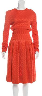 Maison Rabih Kayrouz Chevron Knit Dress w/ Tags Orange Chevron Knit Dress w/ Tags