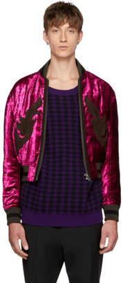 Haider Ackermann Pink Velvet Bomber Jacket