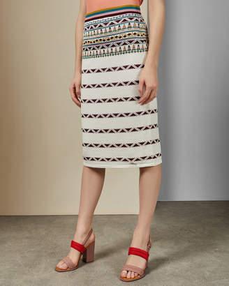 Ted Baker COARI Aztec knitted midi skirt