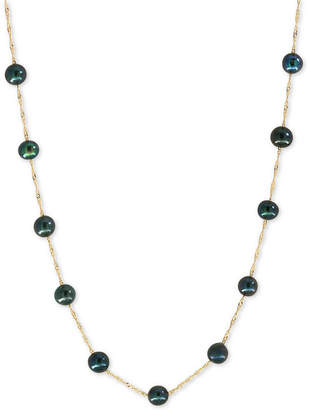 Effy Pearl Lace by Black Cultured Freshwater Pearl (6mm) Collar Necklace in 14k Gold or White Gold
