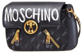 Moschino Moschino 2-D Graffiti Logo Shoulder Bag - Black