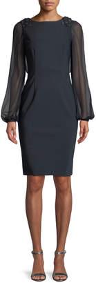 Rickie Freeman For Teri Jon Embellished Chiffon Long-Sleeve Dress