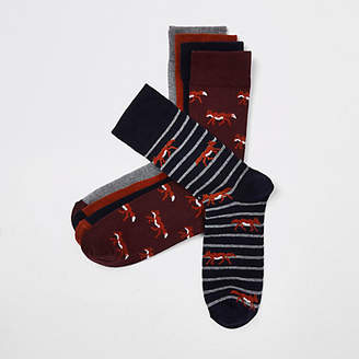 River Island Black stripe fox print socks multipack