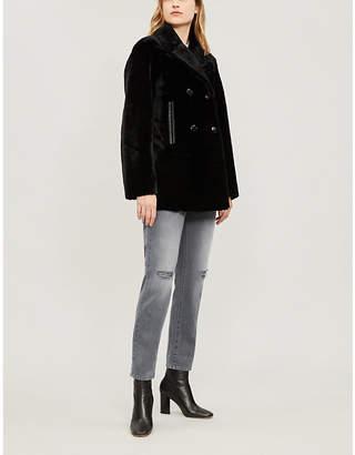 Sandro Contrast-trim leather coat